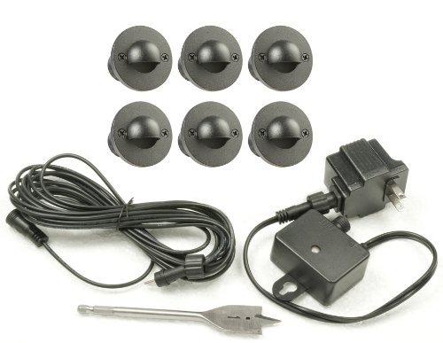 Paradise GL28106BK6 Low Voltage Cast LED Deck Light Kit, Black