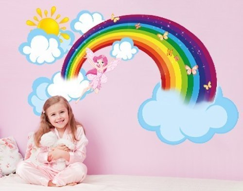 Rainbow Fairy Wall Decal by Style & Apply - highest quality wall print decal, sticker, mural vinyl art home decor - DS 875 - 26in x 16in