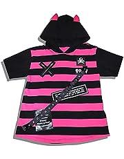 Japan stijl t-shirt vrouwen zomer gestreepte grafische tee 2021 mode punk meisje grappige oren met capuchon gothic alt kleding
