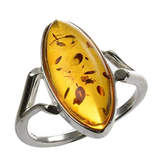 HolidayGiftShops Sterling Silver and Baltic Amber Ring Autumn Size: 7