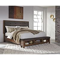 Signature Design by Ashley B594-54 Ralene Upholstered Storage Footboard, Queen, Brown