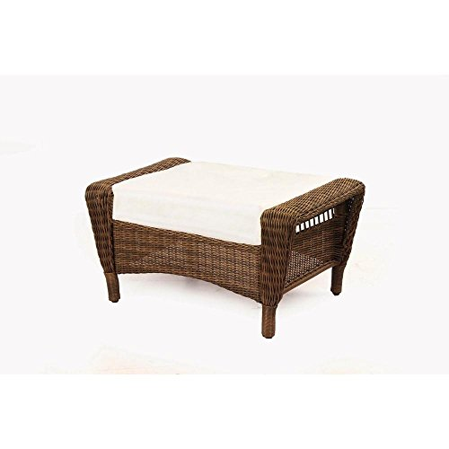 Spring Haven Brown All-Weather Wicker Patio Ottoman with