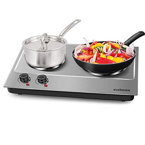 Cooking With Electric Stove - Cusimax Hot Plate Electric Burner Double Burner Cast Iron Heating Plate Portable Double Burner Outdoor Electric Stove 1800W with Adjustable Temperature Control Non-Slip Rubber Feet Black Stainless Steel Easy To Clean Upgraded Version