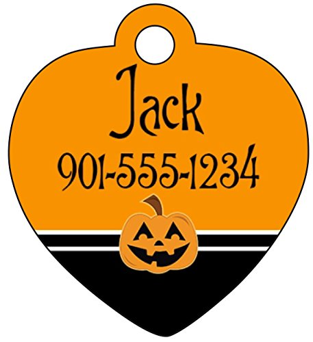 Halloween Themed Pet Names (Halloween Themed Pet Id Tag for Dogs & Cats Personalized w/ Name & Number (Pumpkin, Heart)