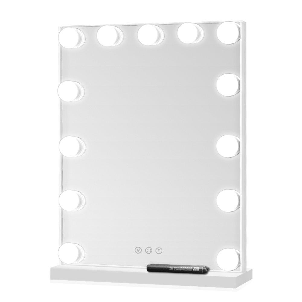 Geek-House 大型肖像画ライト付きバニティミラーハリウッドスタイルメイクアップテーブルトップ、フレームレスミラー13 X 3W 白  白 B07F1Q3P3V