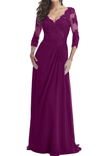 Fuchsie V Mutterkleid Promkleider Ausschnitt Ivydressing Aermeln Spitze Damen Abendkleider Mit PwUzBqH
