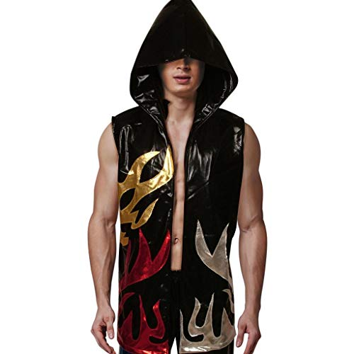 Kids Boxing Robes Hood Faux Leather Shiny Apparel Full Length Sleeveless Flames Hoodie Sport Vest Wrestling Ninja Cloak Cape (Black, M) (Boxing Robe Length Full)