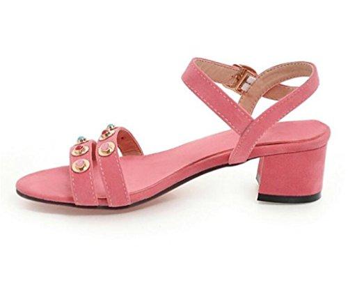 34 Molleton Sandales rivets Toe Xie 37 Pink Confortable 41 Shopping 4cm scolaire simple open EBvFxxnq
