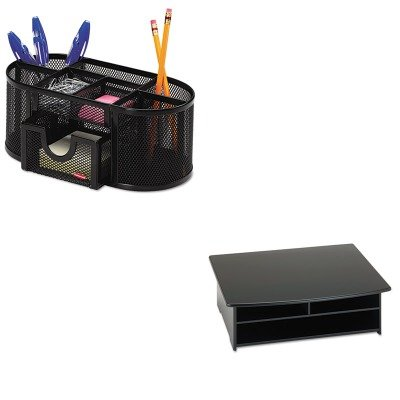 KITROL1746466ROL82431 - Value Kit - Rolodex Wood Tones Printer Stand (ROL82431) and Rolodex Mesh Pencil Cup Organizer (ROL1746466)