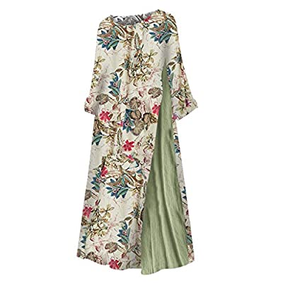 Ghazzi Women Dress Boho Printed Patchwork 3/4 Sleeves O-Neck Button Low Hem Plus Size Dress Summer Casual Loose Maxi Dress at  Women's Clothing store