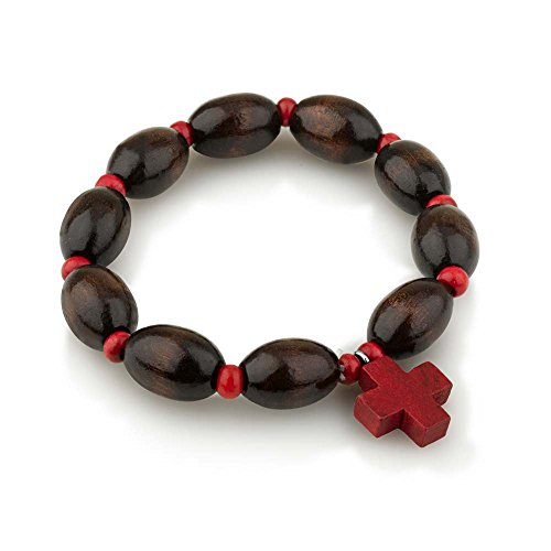 Marina Meiri Genuine Wood Polished 10mm Bead Rosary Bracelet with Red Wooden Cross Pendant