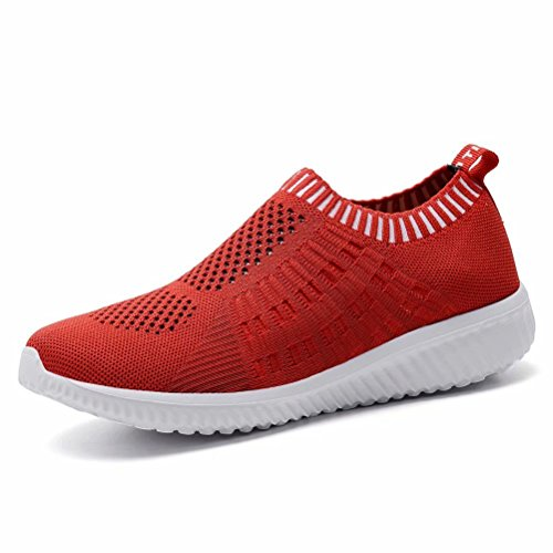 LANCROP Women's Lightweight Slip On Athletic Sneakers Breathable Mesh Walking Shoes,6701 Red,8.5 B(M) US
