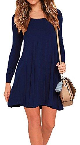 Bestfort Blusen Damen Kleid Pullover Rundhals New Mode Übergang Steppmantel Lose Langarm Baumwolle Elegant Kleid Frühling Herbst Dunkelblau pYXHCe1J