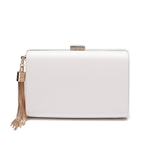 Leather Small Evening Bag (Leather Evening Clutch Handbag Clutch Purse Prom For Cocktail Wedding Women White)