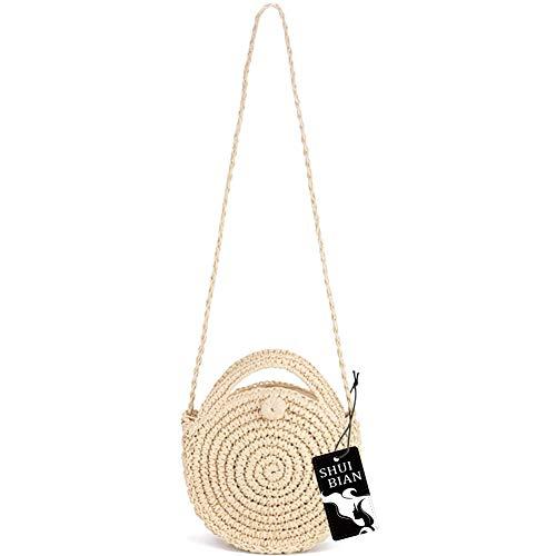 SHUIBIAN Women Straw Crossbody Bag Crochet Shoulder Summer Bag Round Handbags Beach Bag ()