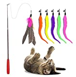 Cat Toys Wand Interactive Feather Teaser Stick and Exerciser Attachments Retractable Fishing Rod with 6 Refills Feathers Set for Cats Kitten (Worm)