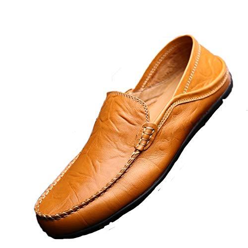 EU 43 pelle casual Classico Colore Marrone da punta barca Dimensione blu ZHRUI vera in per nero uomo Blu Mocassini scarpe marrone scuro arrotondata 1q0wI5R