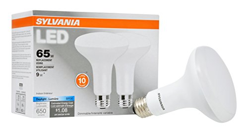- SYLVANIA, 65W Equivalent, LED Light Bulb, BR30 Lamp, 2 Pack, Daylight, Energy Saving & Dimmable, Value Series, Medium Base, Efficient 9W, 5000K