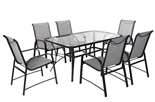 "COSCO 88647GLGE Outdoor Living 7 Piece Paloma Steel Patio Dining Set, Light/Dark Gray - Cosco's Paloma collection outdoor dining table and 6 chair set feature a durable weather resistant outdoor powder coated steel frame and all weather sling The easy to clean stylish gray finish can match nicely with existing outdoor furniture Dimensions are: Dining table 60"" L x 38"" W x 28.35"" H. Dining chair-21.41 L x 26.57 W x 37.4 H inches. Chair-Seat Dimensions- 16 H x 17.75 W x 18.5 D inches. Chair-Back-21.4 H x 17.75 W inches - patio-furniture, dining-sets-patio-funiture, patio - 41ezxbifsKL -"