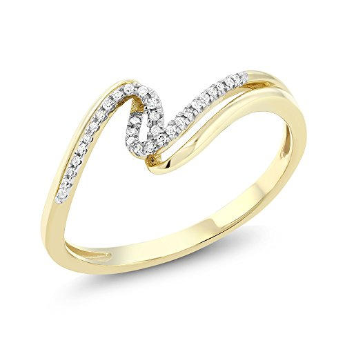 10K Solid Yellow Gold White Diamond Bypass Anniversary Wedding Band (0.045 cttw, I J Color, I1 I2 Clarity, Available in size 5, 6, 7, 8, 9)