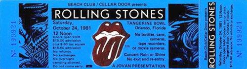 Rolling Stones 1981 Unused Concert Ticket Orlando Blue