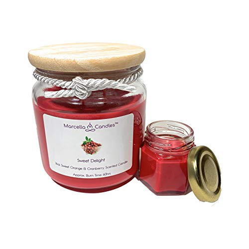 Scented Soy Candle, 16oz Sweet Orange & Cranberry 3 Wick Candle Set, Includes 16oz Sweet Delight Soy Candle & a Sweet Delight Marcella Mini Candle by Marcella Candles (Sweet Delight, 16oz)