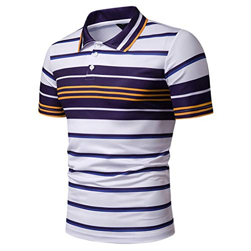 Summer Stripe Painting Top Men Fashion Short Sleeve Large Size Casual Blouse Fashion Shirts