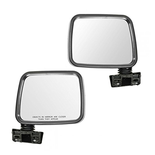Rodeo Manual Mirror - Mirror Manual Black LH Left RH Right Pair Set for 88-93 Isuzu Pup Pickup Rodeo