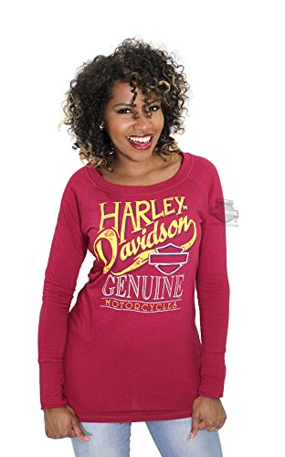 Harley-Davidson Womens The Look Out Genuine B&S Pullover Red Sweatshirt (Small)