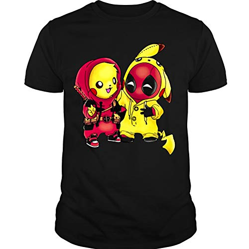 Pikachu Pool Ninja T Shirt, Pikachu Deadpool T Shirt Unisex (XXL,Black) -