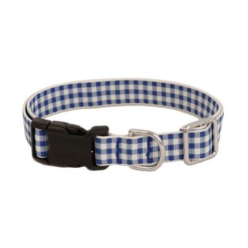 Gingham Luxury Dog Collar - Blue Large