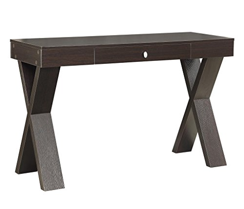 Convenience Concepts Modern Newport Desk with Drawer, Espresso - Spacious Desktop Rich Espresso wood grain finish Uniquely designed - writing-desks, living-room-furniture, living-room - 41ezyPMJvkL -