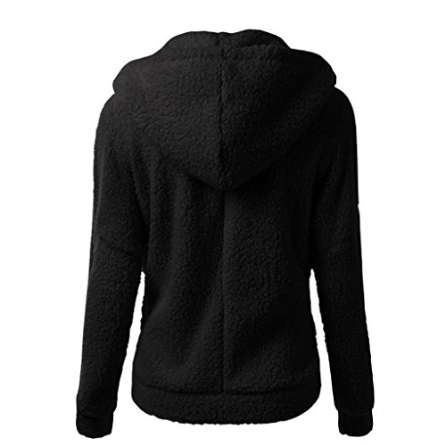 Outwear Negro Algodón Capucha Lana De Invierno Mujeres A Abrigo Shobdw Cálida Suéter Con Cremallera qPFSW