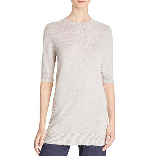 Vince Womens Cashmere Ribbed Trim Crewneck Sweater Beige M