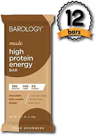Barology High Protein Energy Bar for Men Pack of 12 Delicious Chocolate Chip Cookie Dough, Low Sugar, 11g Net Carbs, 18g High Protein, 14g Fiber, Gluten Free, Prebiotics, 2.1 oz Bar