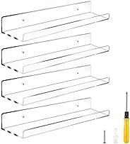 Estantes flotantes de pared de acrílico transparente de 38 cm, 4 unidades de estanterías invisibles, organizad