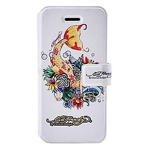 TY- Cola de pescado patrón de la moda funda de cuero con ranuras de soporte y tarjeta para el iphone 5/5s
