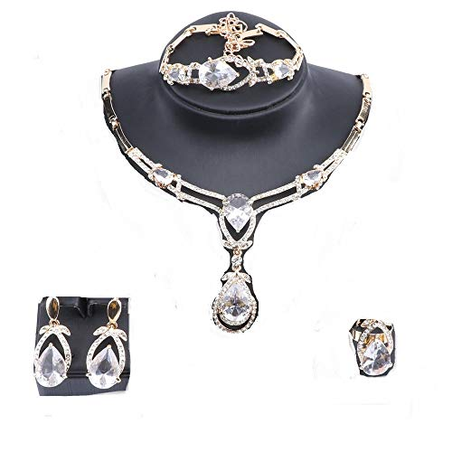 Exquisite Zircon Crystal Necklace Earring Bracelet Ring Bridal Jewelry Sets for Women Gift Party Wedding Prom (Gold White) ()