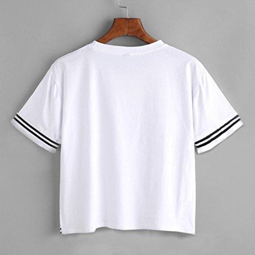 Longra❤ღImpresión divertida de las mujeres camiseta de la letra jersey suelto Tops manga corta de la blusa casual