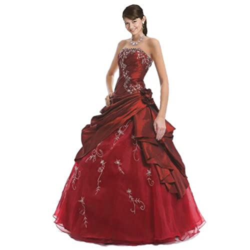 Faironly M37 Strapless Burgundy Prom Dress Stock Size