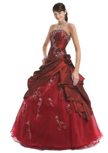 Faironly M37 Strapless Burgundy Prom Dress Stock, - Strapless Dress Taffeta Evening