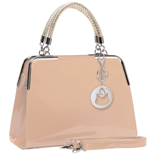 MG Collection Matana Faux Patent Leather Doctor Tote Purse, Nude, One Size