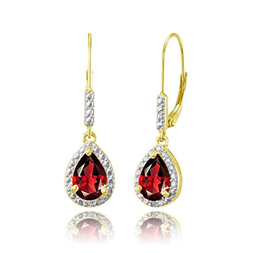 Yellow Gold Flashed Sterling Silver Created Ruby Teardrop Dangle Leverback Earrings ()