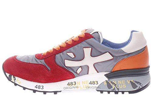 PREMIATA Uomo Sneaker Mick Var 1281E Sneaker in Pelle e Tessuto Uomo Rosso/Grigio