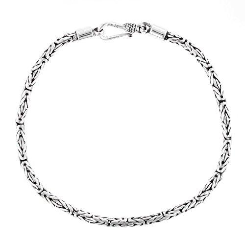 (7 2.5mm Round Byzantine Handmade Bali Oxidized 925 Sterling Silver Bracelet Anklet)
