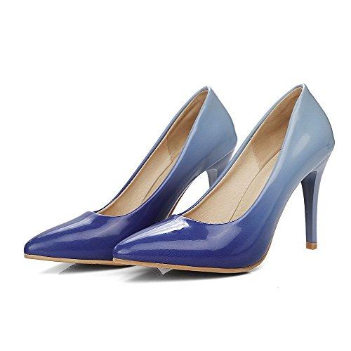 VogueZone009 Damen Lackleder Hoher Absatz Spitz Zehe Rein Ziehen auf Pumps Schuhe Lila