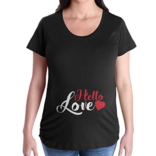 Maternity Clothes Hello Love Funny Cute Mom Pregnant Mother Pregnancy T-Shirt by Brisco Brands