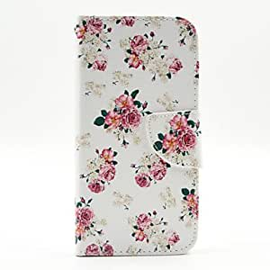 LCJ Flowers Pattern PU Leather Full Body Case with Stand and Card Holder for Samsung Galaxy S6 Edge