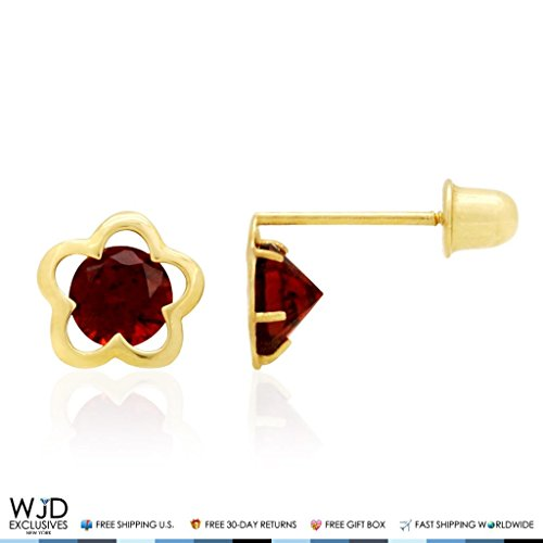 Earrings Topaz & Garnet Pink (14k Yellow Gold Solitaire CZ Birthstone Flower Screw Back Stud Earrings, Garnet)