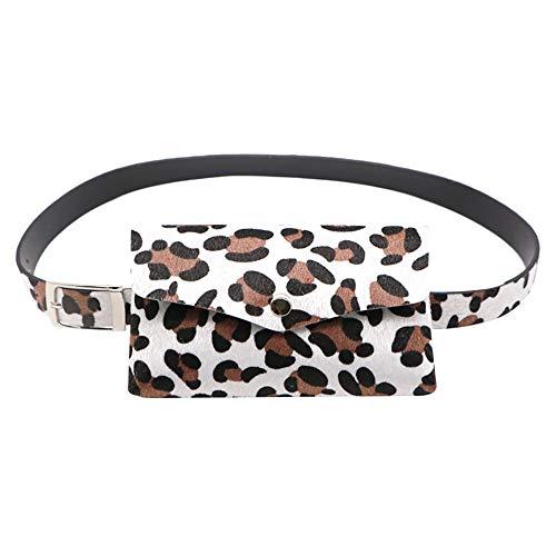 Buckle Belt For Men,Women Leopard Horse Hair Decorative Pockets Dual-use Mobile Phone Bag Purse,Running Waist Packs,White,2019 Clearance Sale